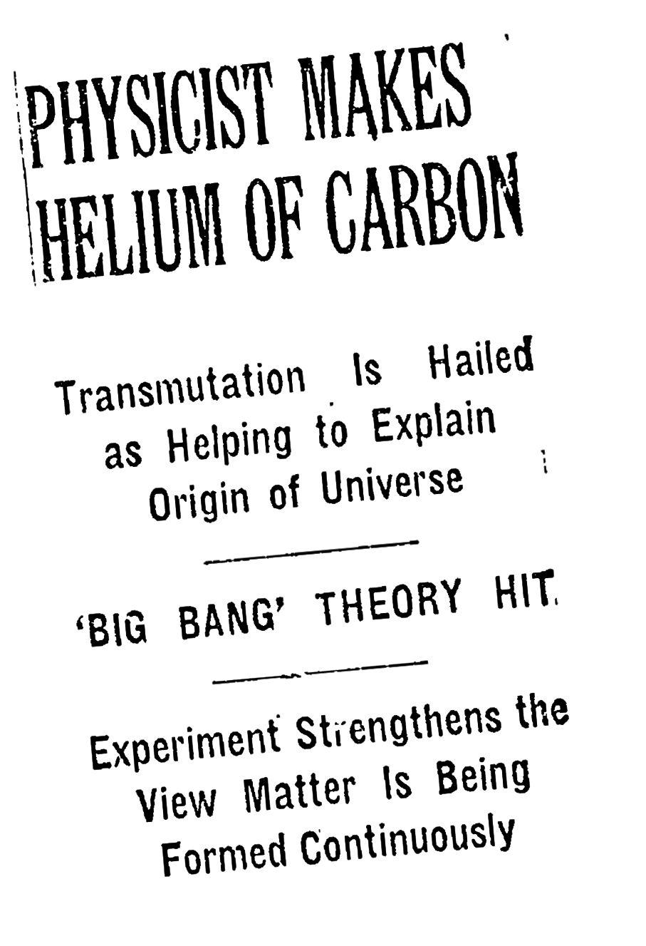 Naslovi koji najavljuju uspjeh zvjezdane nukleosinteze ... i okončanje alfa-beta-gama predviđanja težih elemenata. Kreditna slika: New York Times.
