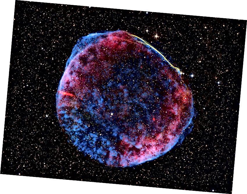 Supernoova jäänuk mitte ainult ei lase plahvatuses tekkinud raskeid elemente tagasi Universumisse, vaid nende elementide olemasolu saab Maalt tuvastada. Pildikrediit: NASA / Chandra röntgenikiirguse vaatluskeskus.