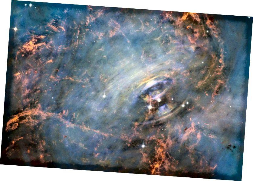 На гэтым вобразе ядра крамяністасці Краба, маладой, масіўнай зоркі, якая нядаўна загінула ад уражлівага выбуху звышновай, паказаны гэтыя характэрныя пульсацыі з-за наяўнасці імпульснай, хутка якая верціцца нейтроннай зоркі: пульсара. Усяго 1000 гадоў гэты малады пульсар, які круціцца 30 разоў у секунду, характэрны для звычайных пульсараў. Малюнак: NASA / ESA.