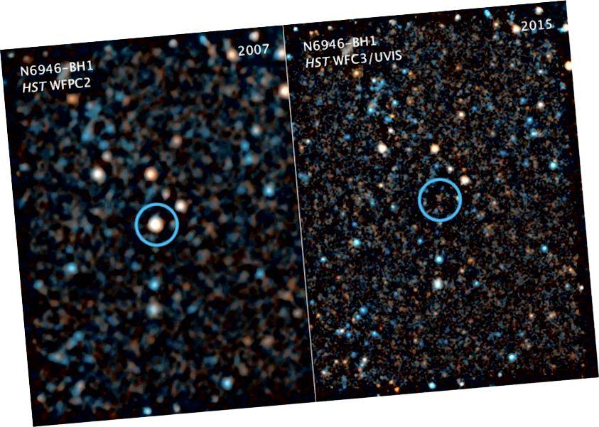 Бачныя / блізкія да інфрачырвонага фотаздымкі з Хабла паказваюць масіўную зорку, прыблізна ў 25 разоў масу Сонца, якая падміргнула да існавання, не маючы звышновай і іншага тлумачэння. Прамы калапс - адзінае разумнае тлумачэнне кандыдата, і адзін з вядомых спосабаў, акрамя зліцця звышновых або нейтронных зорак, сфармаваць чорную дзірку. (NASA / ESA / C. KOCHANEK (OSU))