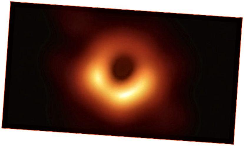 Першая карціна чорнай дзіркі, звышмасіўная чорная дзірка, размешчаная ў цэнтры галактыкі Messier 87.