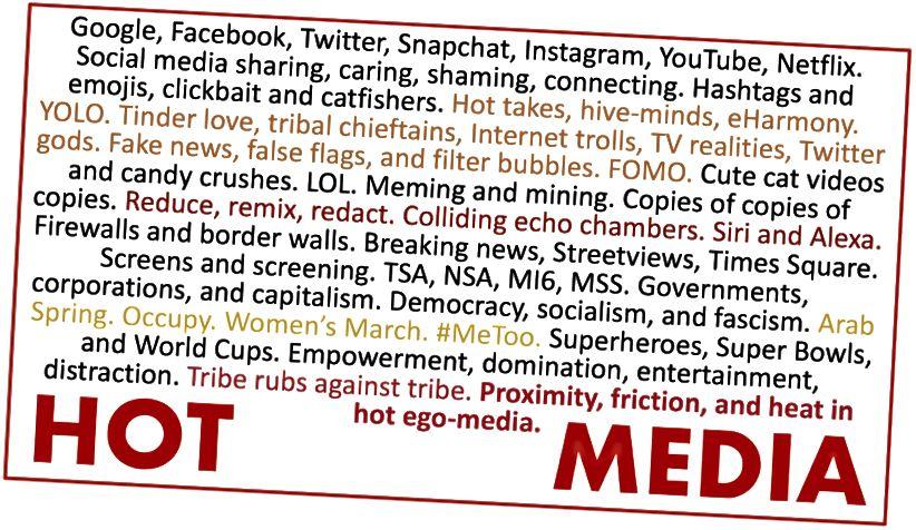 Sampel dari media panas dan pesan ego-media.