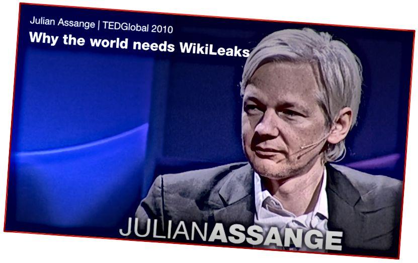 Julian Assange saat wawancara di TEDGlobal, di mana ia menjelaskan alasan keberadaan WikiLeaks.
