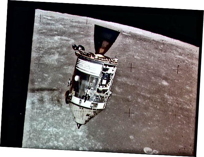 """""""Spásárthaí Modúl Ordú agus Seirbhíse Apollo 15 (CSM)"""" - Creidmheas: NASA"""