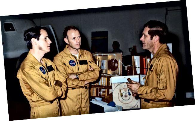 """Aghaidheanna an """"Ceannairc Skylab"""" cáiliúil; is iad an triúr fear seo criú mhisean Skylab 4. Is iad, ó chlé go deas, an t-eolaí-spásaire Edward G. Gibson, píolótach eolaíochta; an spásaire Gerald P. Carr, ceannasaí; agus an spásaire William R. Pogue, píolótach. (Foinse: www.whyy.org)"""