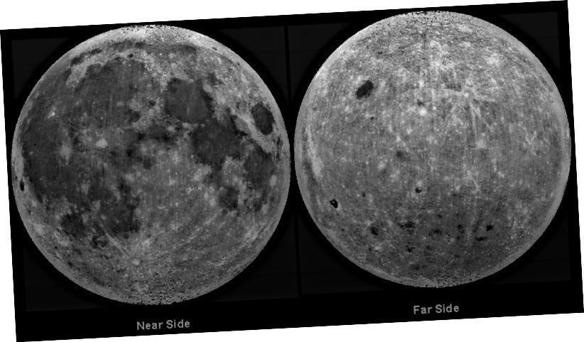 Die nahen und fernen Seiten des Mondes, rekonstruiert mit Bildern aus der Clementine-Mission der NASA. Bildnachweis: NASA / Clementine Mission / Lunar & Planetary Institute / USRA.
