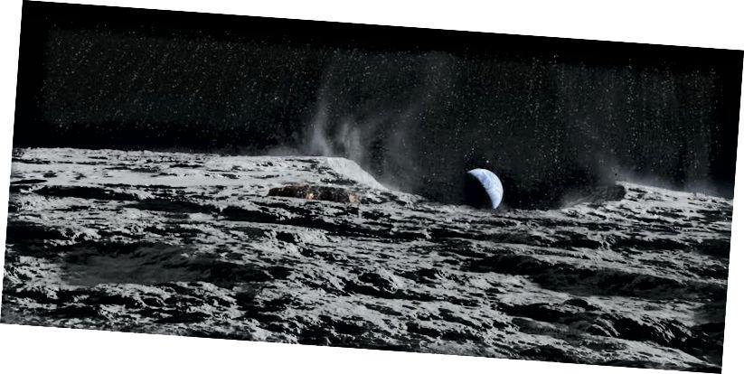 Die Zerstörung des Mondes würde zu ungefähr 7 x 1⁰²² Kilogramm Trümmern führen, die die Erde hoffentlich nicht in großen Stücken treffen würden. Bildnachweis: Blind Spot Pictures Oy, 27 Filmproduktion, New Holland Pictures, aus dem Film Iron Sky.