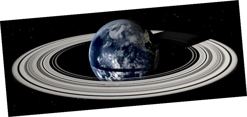 Ein ringförmiges System um die Erde, das auftreten könnte, wenn der Mond auf die richtige Weise zerstört würde. Bildnachweis: Wikimedia Commons-Benutzer Grebenkov als Ergänzung zur Arbeit von Eugene Stauffer.