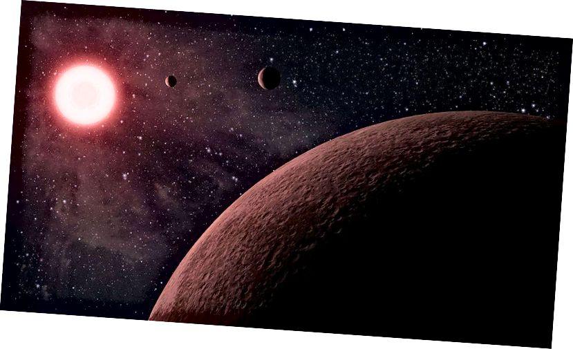 Coincheap ealaíontóra ar an gcóras pláinéadach Kepler-42. Tá gach cúis againn a chreidiúint go bhfuil sé ar fad déanta as ábhar, agus ní frithmhéadair, ach d'fhéadfadh poill dhubha scéal difriúil a insint, mar níl aon bhealach againn a fháil amach cad as a ndéantar iad. (NASA / JPL-Caltech)