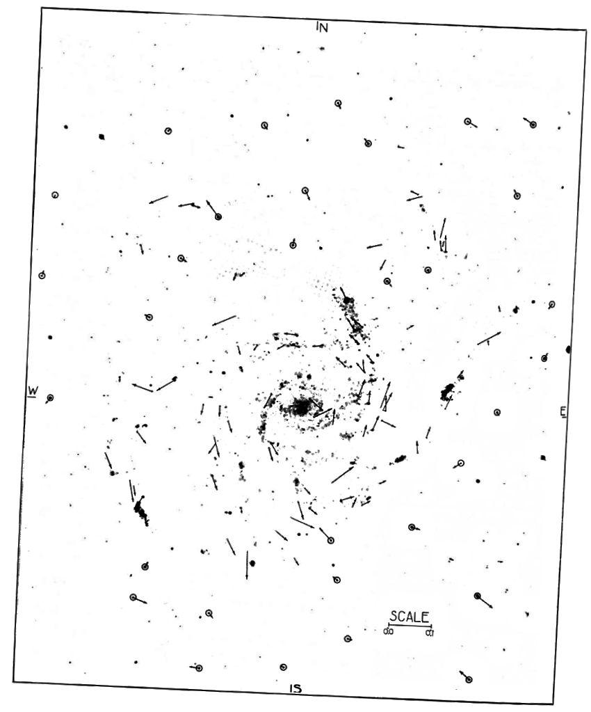 Малюнак: папярэдняе сведчанне ўнутранага руху ў туманнасці спіралі Messier 101, А. Ван Маанен, Матэрыялы Нацыянальнай акадэміі навук Злучаных Штатаў Амерыкі, кн. 2, №7 (15 ліпеня 1916 г.), стар 386–390