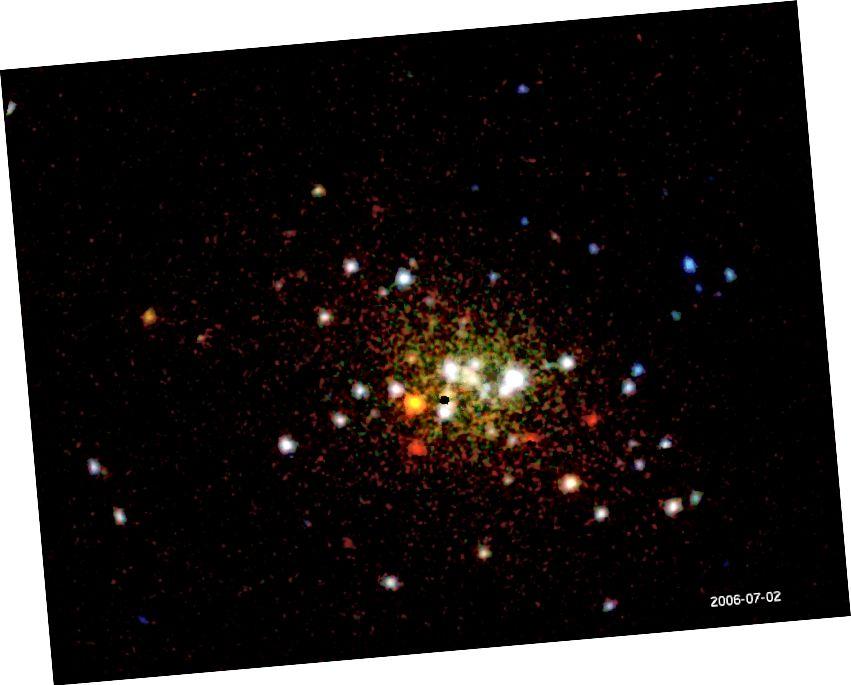 Зіхатлівае і цьмянае новае, разам з яркімі зоркамі, як намалявана XMM-Ньютанам і Чандрай у цэнтры галактыкі Андрамеды. (Крэдыт малюнка: © 2003–2016, MAX-PLANCK-GESELLSCHAFT, MÜNCHEN)