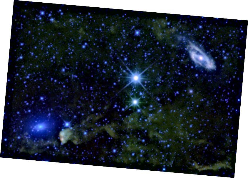 Галактыкі Maffei 1 і Maffei 2, у плоскасці Млечнага Шляху. Імідж-крэдыт: місія WISE; НАСА / JPL-Caltech / UCLA.
