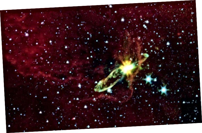Вакол іх ёсць прастатары з прапланетарнымі дыскамі. Але гэта не тыя спіральныя туманнасці, пра якія думаў Шаплі. (Малюнак: NASA-JPL)
