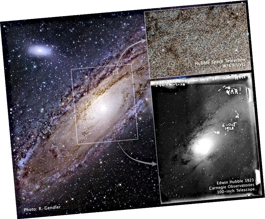 Зорка ў вялікай туманнасці Андрамеды, якая назаўжды змяніла наш погляд на Сусвет, як сфатаграфаваў спачатку Эдвін Хабл у 1923 г., а потым касмічны тэлескоп Хабл амаль праз 90 гадоў. (Малюнак: NASA, ESA і Z. Levay (STScI) (для ілюстрацыі); NASA, ESA і Каманда спадчыны Хабла (STScI / AURA) (для выявы))