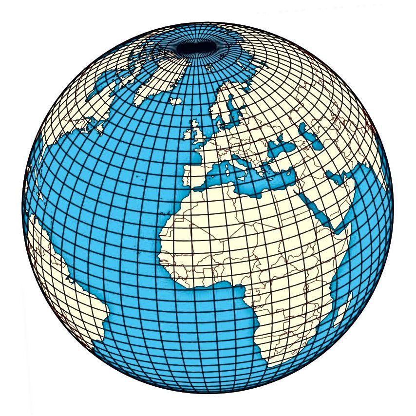 На паверхні такога свету, як Зямля, для вызначэння месцазнаходжання дастаткова двух каардынатаў, як шырыня і даўжыня. Малюнак: Wikimedia Commons карыстальнік Hellerick.