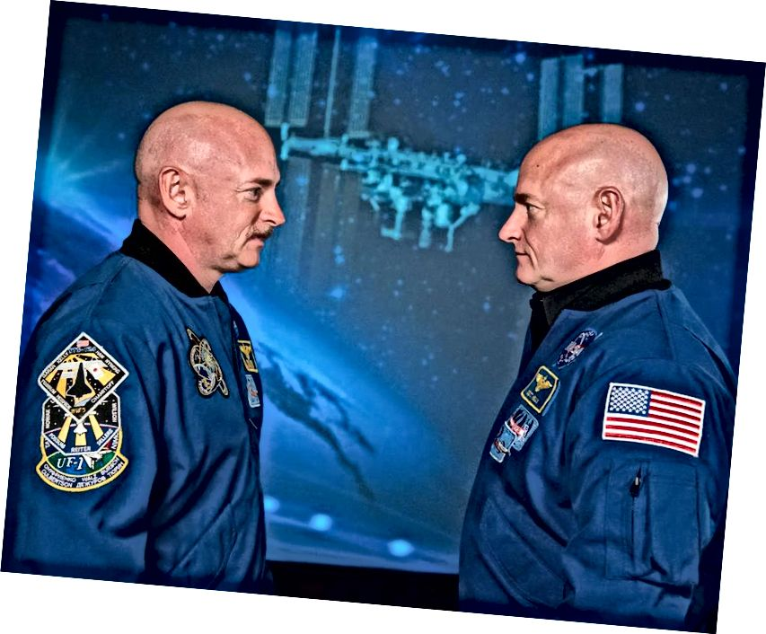 Марк і Скот Келі ў касмічным цэнтры Джонсан, Х'юстан, Тэхас; адзін правёў год у космасе (і старэў крыху менш), а другі застаўся на зямлі. Малюнак: НАСА.