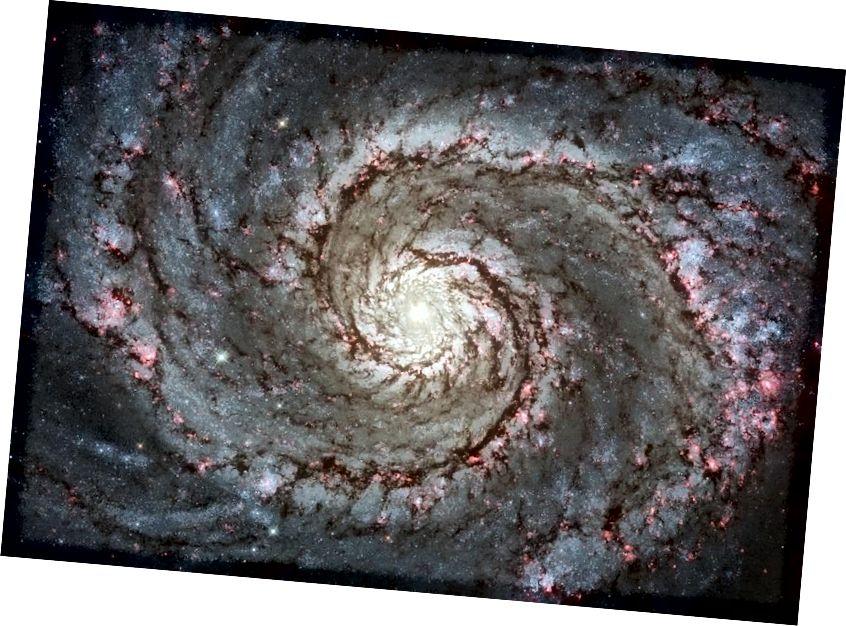 Galaksi Whirlpool (M51) tampak merah muda di sepanjang lengan spiral karena sejumlah besar pembentukan bintang yang terjadi. Dalam kasus khusus ini, galaksi terdekat yang berinteraksi secara gravitasi dengan galaksi Whirlpool memicu pembentukan bintang ini, tetapi semua spiral yang kaya gas menunjukkan beberapa tingkat kelahiran bintang baru. (NASA, ESA, S. BECKWITH (STSCI), DAN TIM WARISAN HUBBLE STSCI / AURA))
