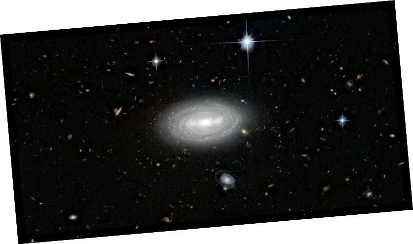 Galaksi terisolir MCG + 01-0202, semua dengan kesepian selama lebih dari 100.000.000 tahun cahaya di segala arah, saat ini dianggap sebagai galaksi paling kesepian di alam semesta. Fitur yang terlihat di galaksi ini konsisten dengan itu menjadi spiral besar yang terbentuk dari serangkaian panjang merger kecil, tetapi telah relatif tenang di bagian depan itu selama miliaran tahun. (ESA / HUBBLE & NASA AND N. GORIN (STSCI); UCAPAN TERIMA KASIH: JUDY SCHMIDT)