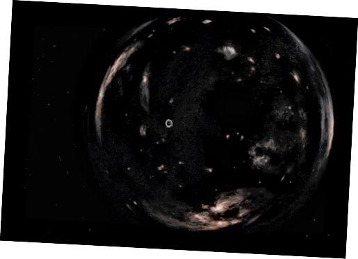 Is sféar é poll i spás 3thoiseach. Ag druidim leis an bpoll péisteanna ón scannán Interstellar, dir. Christopher Nolan.