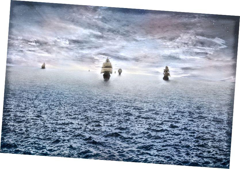 Kako brodovi plove dalje, veći dio njihovih trupa, jedra i jarbola postaje zatamnjen horizontom, zbog zakrivljenosti Zemlje. Bonus slike: stealth_sly iz Pixabaya.