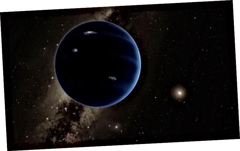 Магчымы свет-гігант можа знаходзіцца ў далёкай, знешняй Сонечнай сістэме, далёка за межамі арбіты Нептуна. Малюнак: Caltech / Роберт Херт.