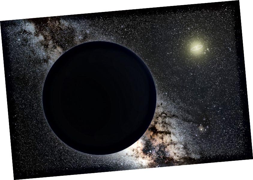 Уражанне мастака пра планету Nine як ледзянага гіганта, зацьмення цэнтральнага Млечнага Шляху, у далечыні зорчатае Сонца. Арбіта Нептуна паказана як невялікі эліпс вакол Сонца. Крэдыт малюнка: карыстальнікі Wikimedia Commons Tomruen, nagualdesign.