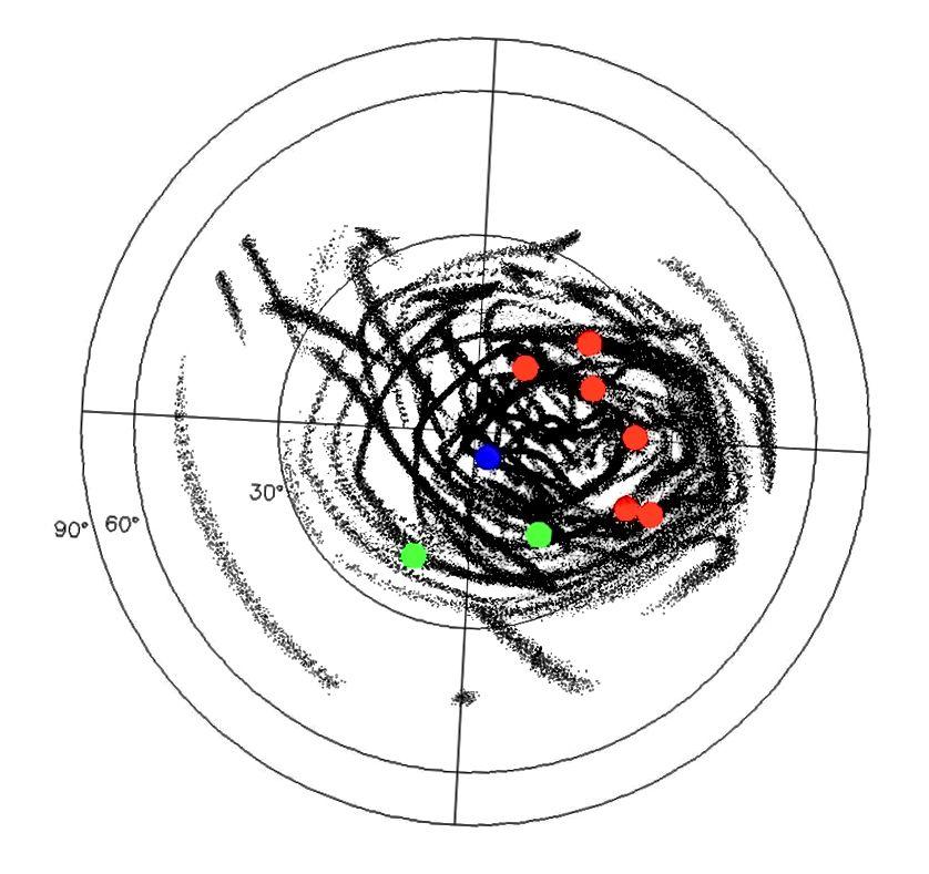 З доўгатэрміновых транснептунскіх аб'ектаў, выяўленых у даследаванні OSSOS, адзін з іх (паказаны сінім колерам) мае параметры, якія адпавядалі б тэорыі Батыгіна і Браўна пра планету дзевяць. Малюнак: Майк Браўн / http://www.findplanetnine.com/.