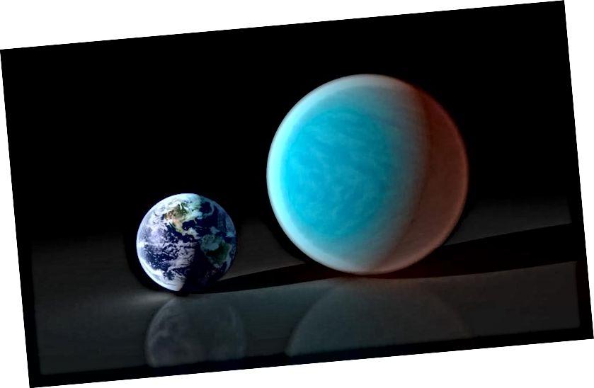 Тэарэтычна, Планета Дзевяць, верагодна, будзе падобная на экзапланету 55 Cancri e, што прыблізна ў два разы больш за радыус Зямлі, але ў восем разоў перавышае масу Зямлі. Аднак гэта новае даследаванне цалкам не супраць існавання такога свету ў нашай знешняй Сонечнай сістэме. Малюнак: NASA / JPL-Caltech / R. Балюча (ССК).