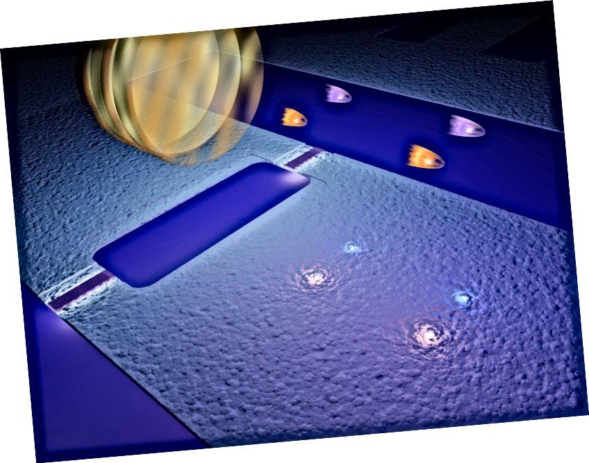 """I Chalmers-forskernes eksperimenter spretter virtuelle fotoner et """"spejl"""", der vibrerer med en hastighed, der er næsten lige så høj som lysets hastighed. Det runde spejl på billedet er et symbol, og under det er den kvanteelektroniske komponent (kaldet en SQUID), der fungerer som et spejl. Dette får virkelige fotoner til at vises (i par) i vakuum"""