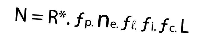 In der Drake-Gleichung ist N gleich der Anzahl der Zivilisationen in unserer Galaxie, mit denen wir kommunizieren können sollten. R * ist die durchschnittliche Sternentstehungsrate der Galaxie pro Jahr, fp ist die Anzahl der Sterne mit Planeten, ne ist die Anzahl der Planeten, die ein Ökosystem entwickeln können, fl sind Planeten, auf denen sich Leben entwickelt, fi sind die Planeten, die intelligentes Leben entwickeln (eine bemerkenswerte Unterscheidung), fc ist der Teil jener Lebensformen, die interstellare Kommunikation entwickeln, und L ist die durchschnittliche Zeitdauer, in der Zivilisationen überleben und in der Lage sind, Kommunikationen auszusenden.