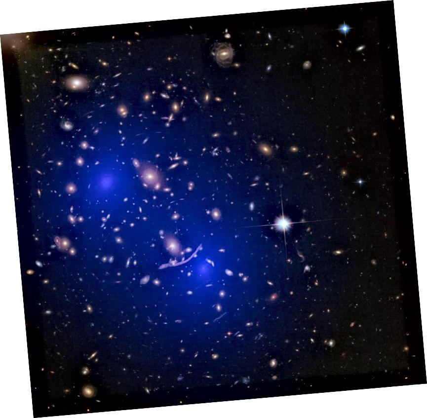 Masna porazdelitev grozda Abell 370., rekonstruirana z gravitacijskim lečenjem, prikazuje dva velika difuzna halo mase, skladna s temno snovjo z dvema združevalnima gručama, da ustvarimo to, kar vidimo tukaj. Okoli in skozi vsako galaksijo, grozd in množično zbiranje normalne snovi obstaja na splošno 5-krat več temne snovi. (NASA, ESA, D. Harvey (École Polytechnique Fédérale de Lausanne, Švica), R. Massey (Univerza Durham, Velika Britanija), Hubble SM4 ERO Team in ST-ECF)