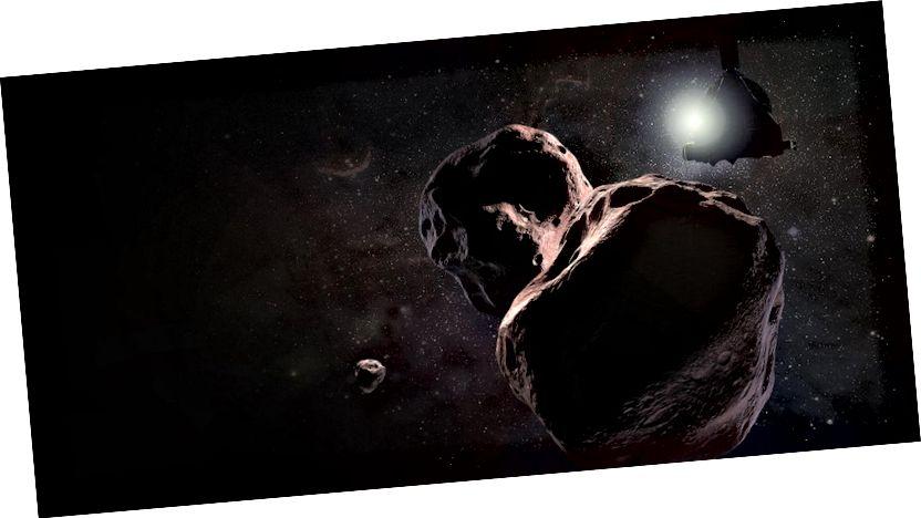 Kesan seorang seniman tentang MU69 2014, yang mungkin sebenarnya adalah dua batu bergerak bersama-sama. Gambar: NASA / JHUAPL / SwRI / Steve Gribben