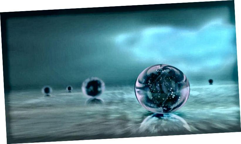 Eine Darstellung mehrerer unabhängiger Universen, die in einem sich ständig erweiternden kosmischen Ozean kausal voneinander getrennt sind, ist eine Darstellung der Multiversum-Idee. Bildnachweis: Ozytive / Public Domain.