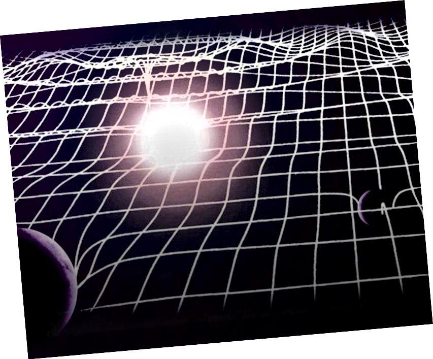 Калі пульсацыя ў прасторы, якая ўзнікае з далёкіх гравітацыйных хваль, праходзіць праз нашу Сонечную сістэму, уключаючы Зямлю, яны ўсё так лёгка сціскаюцца і пашыраюць прастору вакол іх. Альтэрнатывы могуць быць абмежаваныя неверагодна жорстка дзякуючы нашым вымярэнням у гэтым рэжыме. (ЕЎРАПЕЙСКАЯ ГРАВІТАЦЫЯНАЯ АБСЭРВАТАРЫЯ, LIONEL BRET / EUROLIOS)