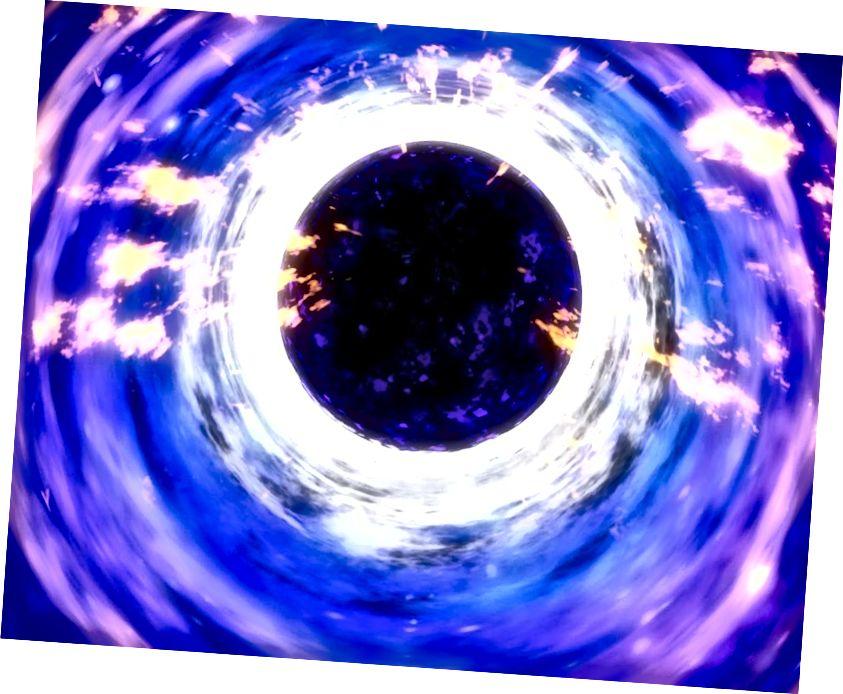 Lasmuigh de léaslíne imeachta poll dubh, tá Gaolmhaireacht Ghinearálta agus teoiric réimse chandamach go hiomlán leordhóthanach chun fisic an rud a tharlaíonn a thuiscint; is é sin radaíocht Hawking. Creidmheas íomhá: NASA.