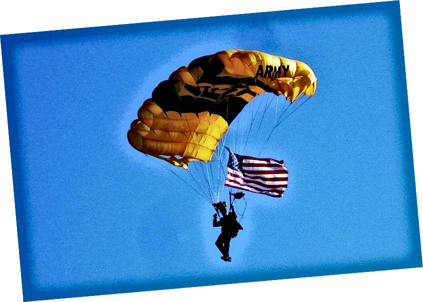 Ein Mitglied der Goldenen Ritter der US-Armee demonstriert Luftwiderstand. Bildnachweis: flickr-Nutzer Gerry Dincher unter einer cc-by-2.0-Lizenz.