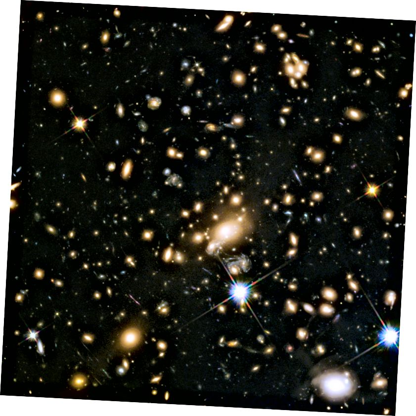 Внушително огромният галактически клъстер MACS J1149.5 + 223, чиято светлина отне 5 милиарда години, за да достигне до нас, беше целта на една от програмите на Hubble Frontier Fields. Този масивен обект гравитационно обективира обектите зад него, като ги разтяга и увеличава и ни позволява да виждаме по-далечни вдлъбнатини на космоса, отколкото в сравнително празен регион. Обявените галактики са сред най-отдалечените от всички и могат да бъдат използвани за тестване на природата на червено изместване в нашата Вселена. (НАСА, ESA, S. RODNEY (УНИВЕРСИТЕТ JOHN HOPKINS, САЩ) и THE FRONTIERSN TEAM; T. TREU (УНИВЕРСИТЕТ НА КАЛИФОРНИЯ LOS ANGELES, САЩ), P. KELLY (УНИВЕРСИТЕТ НА КАЛИФОРНИЯ БЕРКЕЛЕЙ, САЩ) И THE GLASS TEAM; LOTZ (STSCI) И ЕКИПЪТ НА ПРЕДНИТЕ ПОЛОВИ; M. POSTMAN (STSCI) И THE CLASH TEAM; И Z. LEVAY (STSCI))