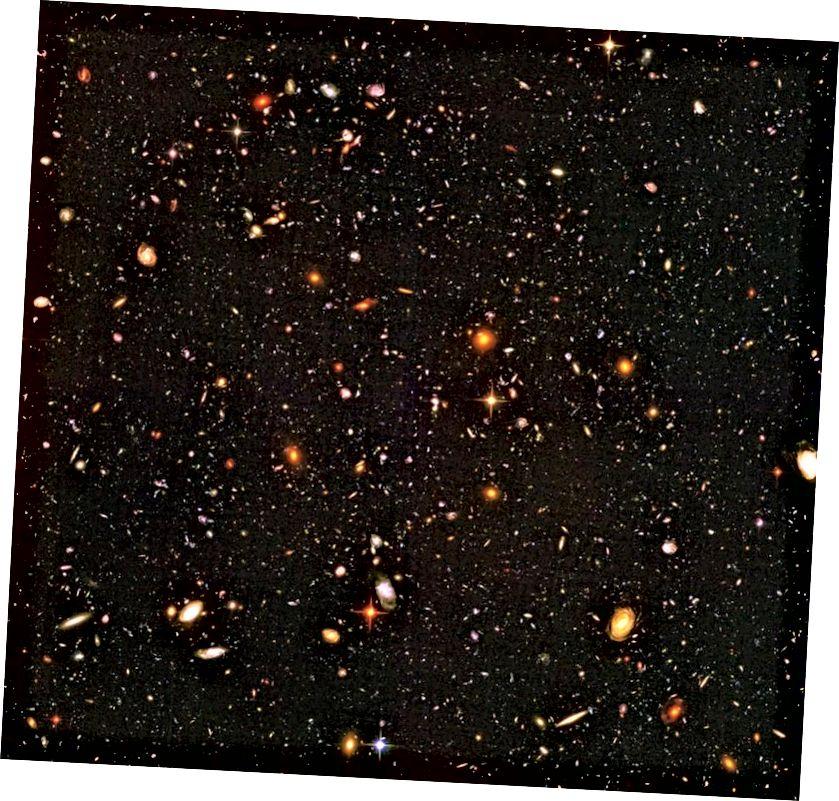 Свръхдалечен изглед на Вселената показва галактики, отдалечени от нас с изключителна скорост. На тези разстояния галактиките изглеждат по-многобройни, по-малки, по-малко еволюирали и се оттеглят при големи червени смени в сравнение с тези наблизо. (НАСА, ЕКА, Р. ВИНДХОРСТ И Х. ЯН)