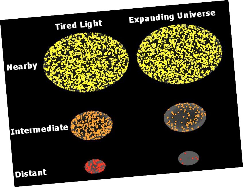 Според хипотезата за уморена светлина броят на фотоните в секунда, които получаваме от всеки обект, спада пропорционално на квадрата на неговото разстояние, докато броят на обектите, които виждаме, се увеличава с квадрата на разстоянието. Обектите трябва да са по-червени, но трябва да излъчват постоянен брой фотони в секунда като функция на разстоянието. В разширяващата се вселена обаче получаваме по-малко фотони в секунда с течение на времето, защото те трябва да изминават по-големи разстояния с разширяването на Вселената, а енергията също се намалява с червеното изместване. Дори факторирането в еволюцията на галактиката води до променяща се яркост на повърхността, която е по-слаба на големи разстояния, в съответствие с това, което виждаме. (WIKIMEDIA COMMONS ПОТРЕБИТЕЛ STIGMATELLA AURANTIACA)
