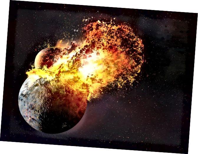 Sebuah teori tentang bagaimana bulan terbentuk menunjukkan bahwa ia melakukannya dari bahan yang dilemparkan dari Bumi setelah tabrakan planet. Tetapi penelitian baru menunjukkan dampak mungkin juga menabur Bumi dengan unsur-unsur yang diperlukan untuk kehidupan (National Geographic)