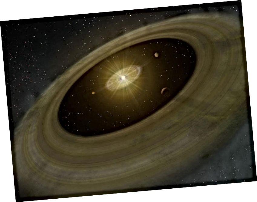 Protoplanetære diske, som alle solsystemer antages at danne med, samles sammen til planeter over tid, som denne illustration viser. Når universet imidlertid kun består af brint og helium, kan der kun dannes gasformige planeter, ikke stenede. Billedkredit: NAOJ.