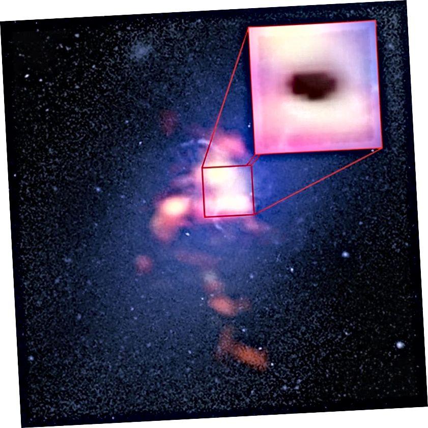 Absorptionen af det millimeter-bølgelængde-lys, der udsendes af elektroner, der suser rundt om magtfulde magnetiske felter genereret af galakens supermassive sorte hul, fører til det mørke sted i denne galakas centrum. Skyggen indikerer, at kolde skyer af molekylær gas regner ind på det sorte hul. Sådanne supermassive sorte huller, eller i det mindste frøene af dem, skulle findes i Universets allerførste galakser. Billedkredit: NASA / ESA & Hubble (blå), ALMA (rød).