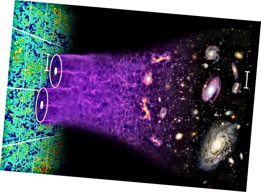 Мащабната структура на Вселената се променя с течение на времето, тъй като малките несъвършенства растат, образувайки първите звезди и галактики, след което се сливат заедно, за да образуват големите, съвременни галактики, които виждаме днес. Гледането на големи разстояния разкрива по-млада Вселена, подобна на това как беше местният ни регион в миналото. Кредит за изображение: Крис Блейк и Сам Моуърфийлд.