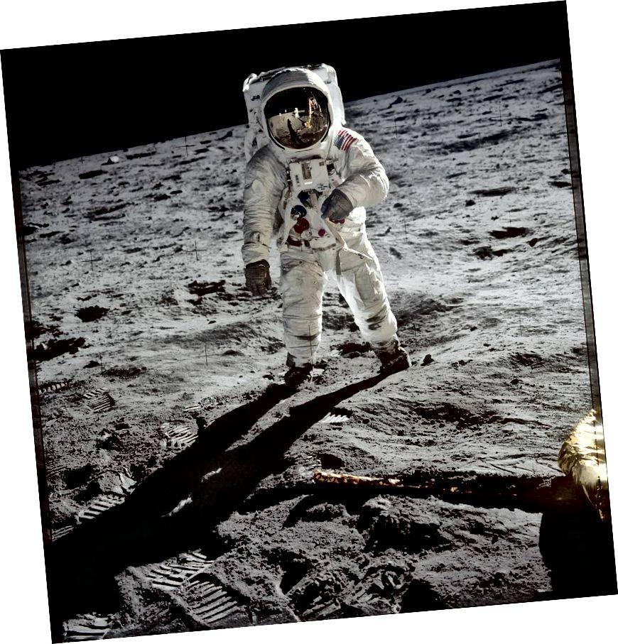Buzz Aldrin na Mesiaci. Obrázok s láskavým dovolením agentúry NASA.