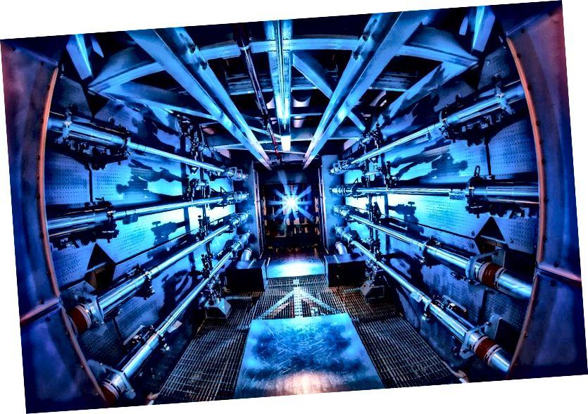 Die Vorverstärker der National Ignition Facility sind der erste Schritt zur Erhöhung der Energie von Laserstrahlen auf ihrem Weg zur Zielkammer. Im Jahr 2012 erzielte NIF einen Schuss von 0,5 Petawatt und erreichte damit einen Spitzenwert von 1.000-mal mehr Leistung, als die USA zu jedem Zeitpunkt verbrauchen. Bildnachweis: Damien Jemison / LLNL.