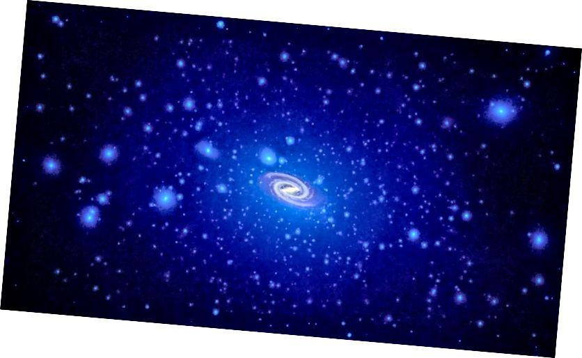 Nach Modellen und Simulationen sollten alle Galaxien in Halos aus dunkler Materie eingebettet sein, deren Dichte an den galaktischen Zentren ihren Höhepunkt erreicht. Auf ausreichend langen Zeitskalen von vielleicht einer Milliarde Jahren wird ein einzelnes Teilchen der dunklen Materie am Rande des Halos eine Umlaufbahn vollenden. Die Auswirkungen von Gas, Rückkopplung, Sternentstehung, Supernovae und Strahlung erschweren diese Umgebung und machen es äußerst schwierig, universelle Vorhersagen der Dunklen Materie zu extrahieren (NASA, ESA UND T. BROWN UND J. TUMLINSON (STSCI)).
