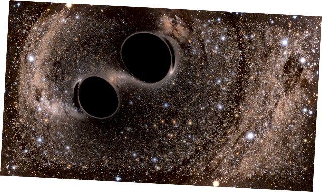 Уражанне мастака пра дзве чорныя дзіркі, якія выявіў LIGO. Звярніце ўвагу, як іх гравітацыя скажае святло зорак за імі. Выява: праект SXS (імітацыя eXtreme Spacetimes)