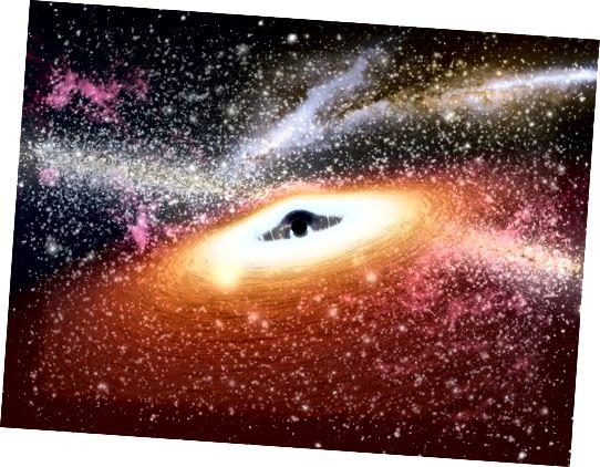 Уражанне мастака пра гарачую матэрыю круцілася каля чорнай дзіркі. Нават нягледзячы на тое, што чорная дзірка нябачная, яна аддае сябе ад уздзеяння, якое аказвае яе магутная гравітацыя на навакольны матэрыял. Цёмны круг - гэта