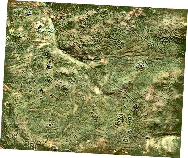 Skærmbillede fra Google Earth, der kun viser et lille område i Sydafrika, der er rig på gamle jordværker og stenstrukturer
