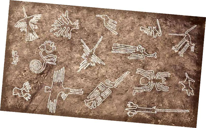 Nogle piktogrammer fra Nazca-linjerne